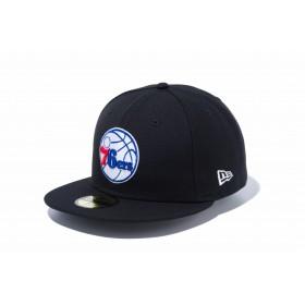 【ニューエラ公式】 59FIFTY NBA フィラデルフィア・セブンティシクサーズ ブラック × チームカラー メンズ レディース 7 (55.8cm) NBA キャップ 帽子 12019012 NEW ERA