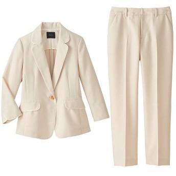 70%OFF【レディース】 洗えるパンツスーツ - セシール ■カラー:ベージュ ■サイズ:5号(プチサイズ)