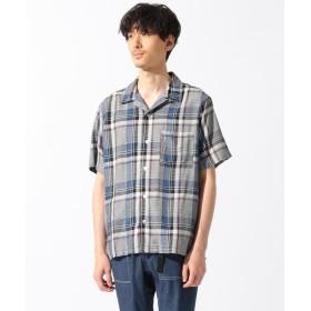 【40%OFF】 シェアパーク レーヨンチェックオープン半袖 シャツ メンズ ネイビー系1 1 【SHARE PARK】 【セール開催中】