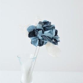 デニムのお花とリボンのカジュアルなかんざし