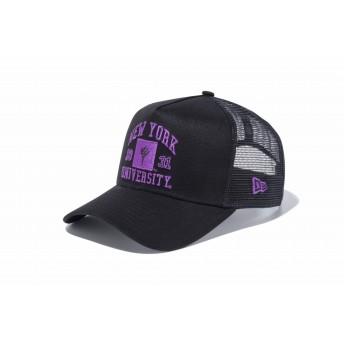 【ニューエラ公式】 9FORTY A-Frame トラッカー ニューヨーク大学 NYU ブラック × オフィシャルロゴカラー ブラックメッシュ メンズ レディース 56.8 - 60.6cm キャップ 帽子 11903759 コラボ NEW ERA