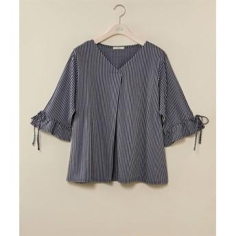 袖リボン前タックカットソープルオーバー【bi abbey】 (大きいサイズレディース)Tシャツ・カットソー