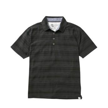 梨地オルテガ柄プリント半袖ポロシャツ 大きいサイズメンズ ポロシャツ