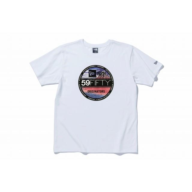 【ニューエラ公式】 ストア限定 コットン Tシャツ バイザーステッカー 浮世絵 葛飾北斎 凱風快晴 ホワイト メンズ レディース Small 半袖 Tシャツ 11601149 NEW ERA