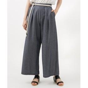 【接触冷感。UVカット】麻混ワイドパンツ(ロープベルト付) (レディースパンツ),pants