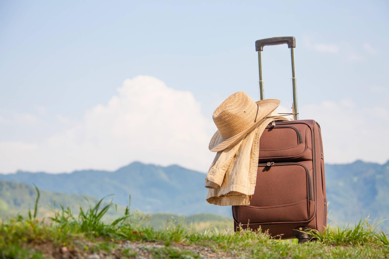 草原に置かれたスーツケース