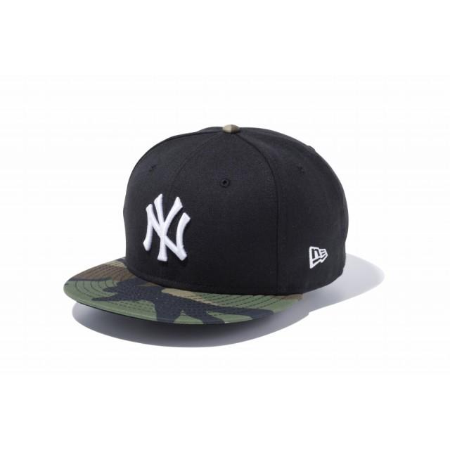 【ニューエラ公式】 9FIFTY ニューヨーク・ヤンキース ブラック × ホワイト ウッドランドカモバイザー メンズ レディース 57.7 - 61.5cm MLB キャップ 帽子 11433953 NEW ERA