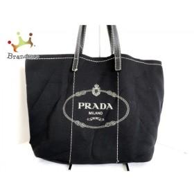 1219fd694b4c プラダ PRADA トートバッグ CANAPA 黒×アイボリー ポリウレタン×レザー 新着 20190527