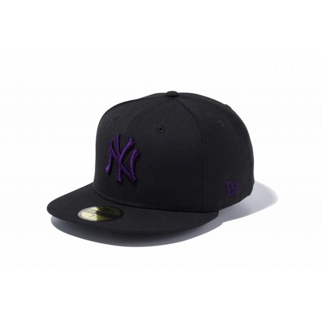 【ニューエラ公式】 59FIFTY MLB ニューヨーク・ヤンキース ブラック × パープル メンズ レディース 7 (55.8cm) MLB キャップ 帽子 11308574 NEW ERA