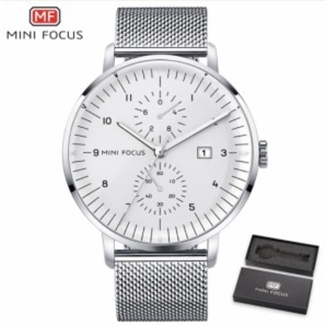 8b237dfcdc MINI FOCUS 高級 メンズ クォーツ 時計 ステンレス 腕時計 防水 ファッション 男性 ステンレス バンド シンプル ミニマル MF0052G