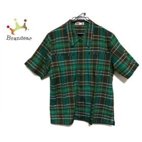 ダックス DAKS 半袖シャツ サイズ7R レディース 美品 グリーン×マルチ チェック柄  値下げ 20191018