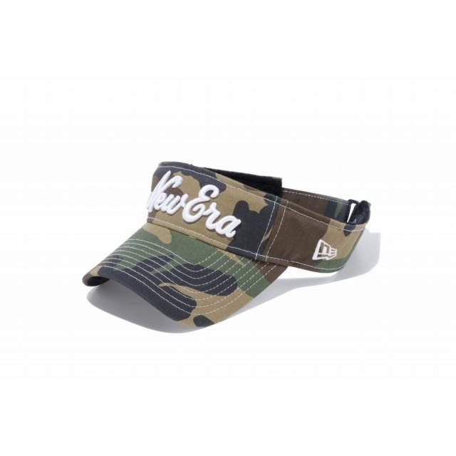 【ニューエラ公式】 ゴルフ サンバイザー ストレッチコットン ウォッシャブル New Eraオールドロゴ ウッドランドカモ × ホワイト メンズ レディース 55.8 - 59.6cm キャップ 帽子 11899097 NEW ERA