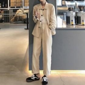 リネン セットアップ レディース 韓国 ファッション オルチャン リネン スーツ カジュアル パンツスーツ 上下セット 夏 オフィスカジュア