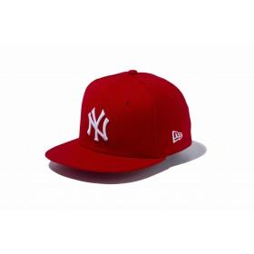 【ニューエラ公式】キッズ 9FIFTY ニューヨーク・ヤンキース スカーレット × ホワイト 男の子 女の子 49.2 - 53cm MLB キャップ 帽子 11596316 NEW ERA