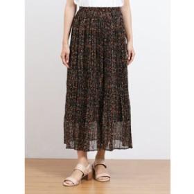 【on the day:スカート】フルーツ×フラワー プリーツロングスカート