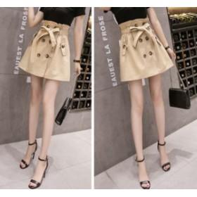 ミニスカート 台形スカート レディース 女性 女の子 ウエストリボン 共布ベルト ボタン レトロ  送料無料