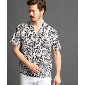 【44%OFF】 ムッシュニコル ボタニカル柄オープンカラーシャツ メンズ 49ブラック 50(LL) 【MONSIEUR NICOLE】 【タイムセール開催中】