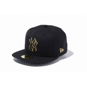 59FIFTY MLB ニューヨーク・ヤンキース ブラック × ブラック ゴールドアウトライン