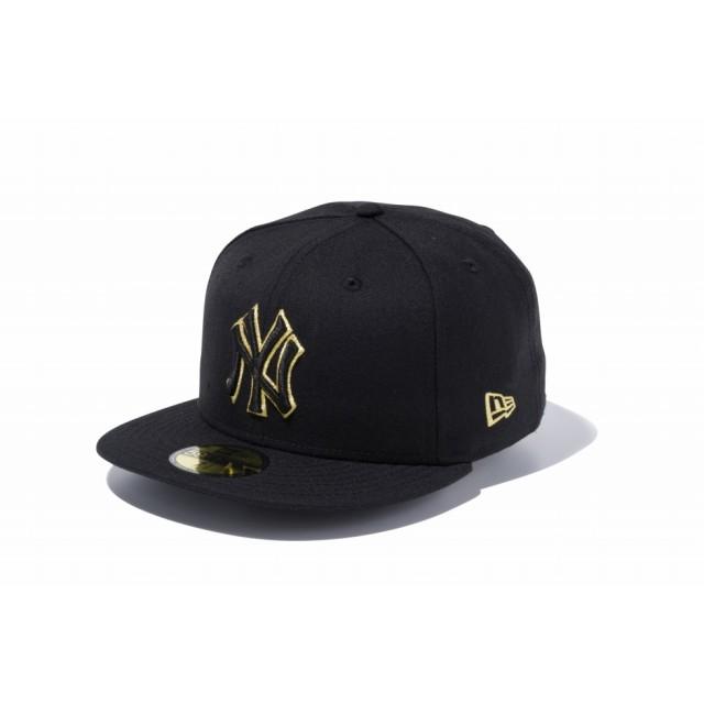 【ニューエラ公式】 59FIFTY MLB ニューヨーク・ヤンキース ブラック × ブラック ゴールドアウトライン メンズ レディース 7 (55.8cm) MLB キャップ 帽子 11308577 NEW ERA