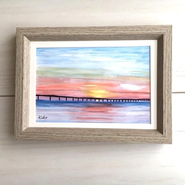 水彩原画【額縁付き】橋の向こう