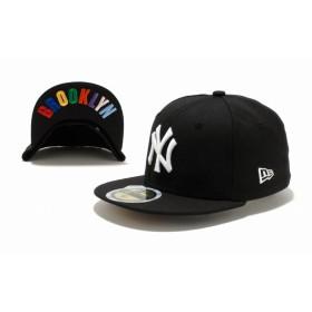 NEW ERA ニューエラ キッズ 59FIFTY UNDERVISOR ニューヨーク・ヤンキース ブラック × ホワイト BROOKLYNマルチカラー ベースボールキャップ キャップ 帽子 男の子 女の子 6 1/2 (52cm) 11310397 NEWERA