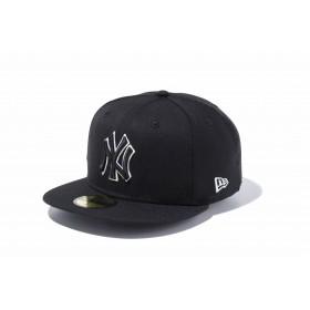 59FIFTY MLB ニューヨーク・ヤンキース ブラック × ブラック ホワイトアウトライン