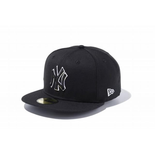 【ニューエラ公式】 59FIFTY MLB ニューヨーク・ヤンキース ブラック × ブラック ホワイトアウトライン メンズ レディース 7 (55.8cm) MLB キャップ 帽子 11308576 NEW ERA