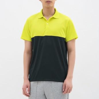 (GU)ポロシャツ(半袖)(カラーブロック)GS YELLOW M