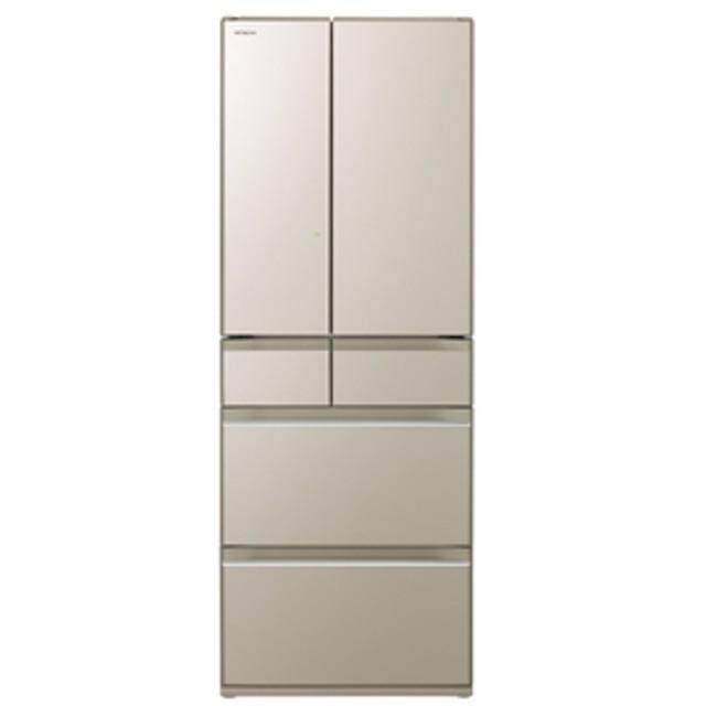 日立602L 6ドアノンフロン冷蔵庫プレーンシャンパンR-HW60K XN