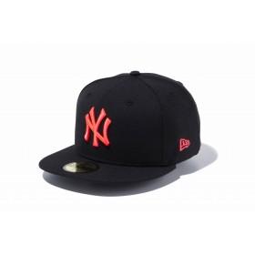 【ニューエラ公式】 59FIFTY MLB ニューヨーク・ヤンキース ブラック × サンセットオレンジ メンズ レディース 7 (55.8cm) MLB キャップ 帽子 11308573 NEW ERA