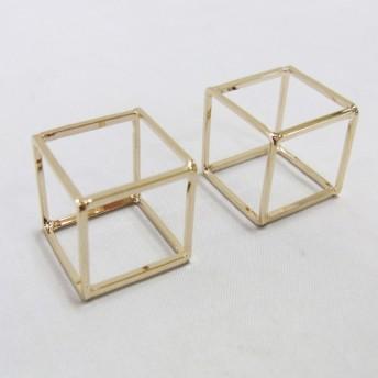 2個入り スクエア 四角 枠 立体 キューブ 取り付け パーツ チャーム 素材 部材 スクエア M ゴールド