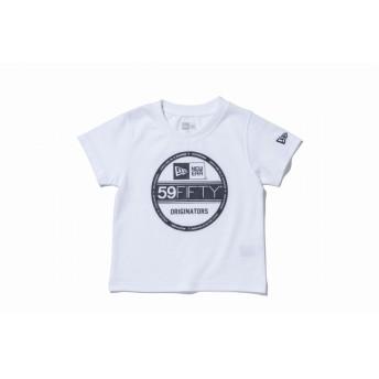 NEW ERA ニューエラ キッズ コットン Tシャツ バイザーステッカー ホワイト × ブラック 半袖 ウェア 男の子 女の子 100 11566703 NEWERA