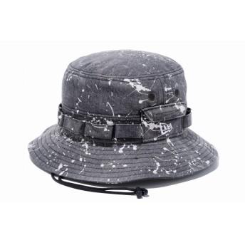 NEW ERA ニューエラ アドベンチャー スプラッシュ ウォッシュドブラックデニム ホワイトフラッグ サファリハット アドベンチャーハット アウトドア トレッキング ハット 帽子 メンズ レディース M/L (59cm) 11901160 NEWERA