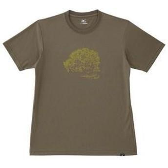MIZUNO ミズノ スパン天竺 半袖 プリントTシャツ A2JA604639 オリーブカーキ メンズ お取り寄せ商品