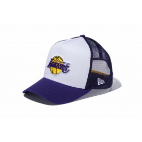 【ニューエラ公式】 9FORTY D-Frame トラッカー ロサンゼルス・レイカーズ ホワイト × チームカラー パープルメッシュ メンズ レディース 55.8 - 59.6cm NBA キャップ 帽子 11434239 NEW ERA