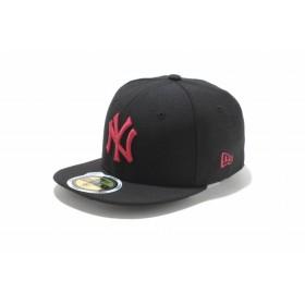 【ニューエラ公式】キッズ 59FIFTY ニューヨーク・ヤンキース ブラック × ストロベリー 男の子 女の子 6 1/2 (52cm) MLB キャップ 帽子 11310407 NEW ERA
