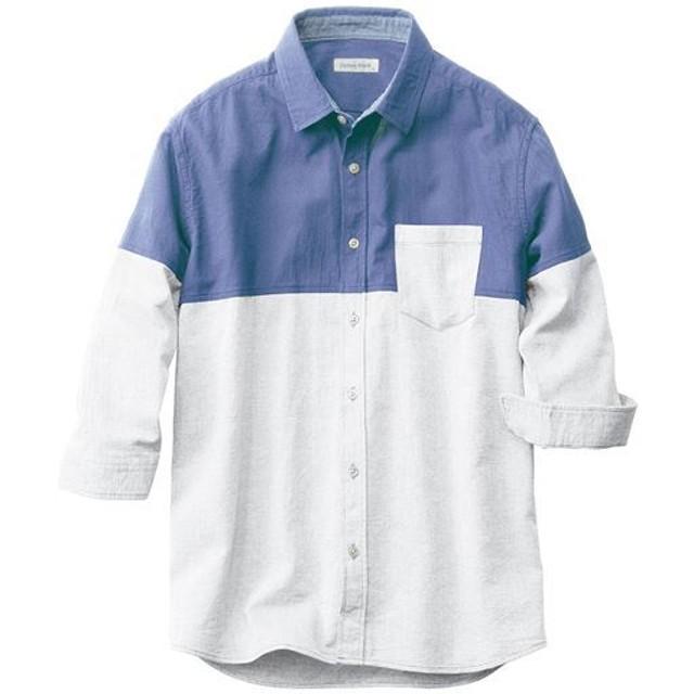 【メンズ】 人気デザイン、切替仕様のパナマ織り素材シャツ(7分袖) - セシール ■カラー:ブルー系 ■サイズ:M,5L,L,LL,3L