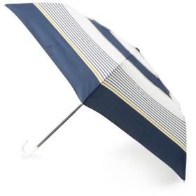 グローブ 晴雨兼用マルチボーダー折り畳み傘 レディース ネイビー(393) 00 【grove】
