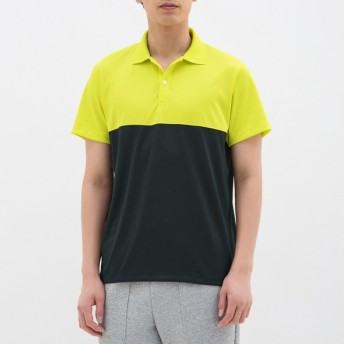 (GU)ポロシャツ(半袖)(カラーブロック)GS YELLOW L