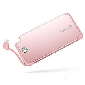 Luxtude 5000mAh 薄型 軽量 プレゼント モバイルバッテリー Lightningケーブル内蔵 MFI認証 ポケット バッテリー 急速充電 コンパクト 持ち運び便利 携帯充電器 iPhon
