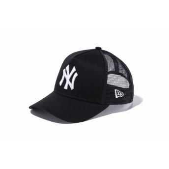 NEW ERA ニューエラ キッズ 9FORTY A-Frame トラッカー ニューヨーク・ヤンキース ブラック × ホワイト アジャスタブル サイズ調整可能 ベースボールキャップ キャップ 帽子 男の子 女の子 52 - 55.8cm 11433930 NEWERA メッシュキャップ