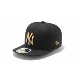 【ニューエラ公式】キッズ 59FIFTY ニューヨーク・ヤンキース ブラック × メタリックゴールド 男の子 女の子 6 1/2 (52cm) MLB キャップ 帽子 11310410 NEW ERA