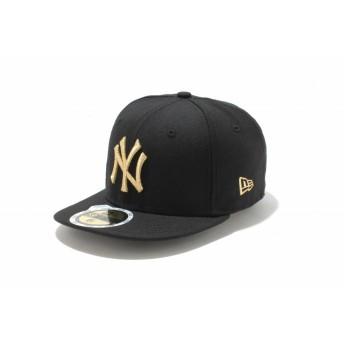 NEW ERA ニューエラ キッズ 59FIFTY ニューヨーク・ヤンキース ブラック × メタリックゴールド ベースボールキャップ キャップ 帽子 男の子 女の子 6 1/2 (52cm) 11310410 NEWERA