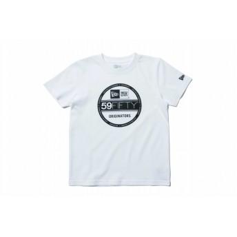 NEW ERA ニューエラ キッズ コットン Tシャツ バイザーステッカー ホワイト × ブラック 半袖 ウェア 男の子 女の子 130 11901431 NEWERA