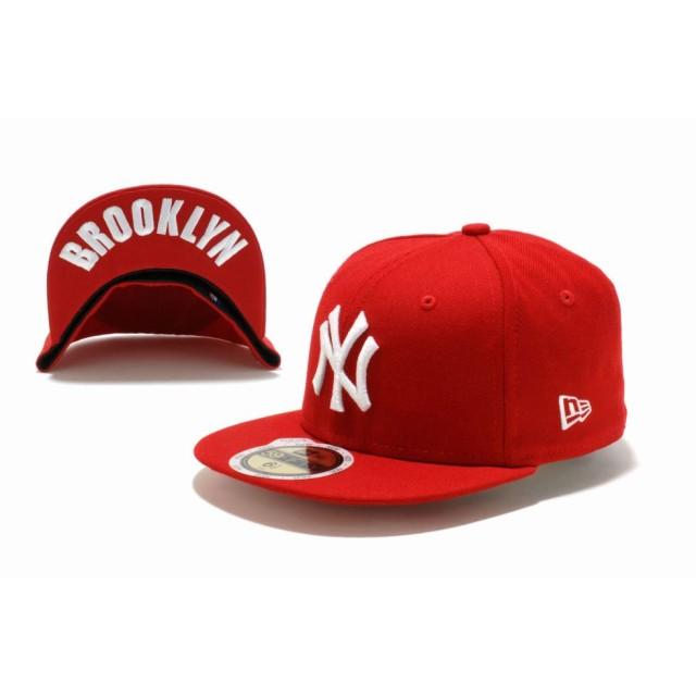 NEW ERA ニューエラ キッズ 59FIFTY UNDERVISOR ニューヨーク・ヤンキース スカーレット × ホワイト BROOKLYN ベースボールキャップ キャップ 帽子 男の子 女の子 6 1/2 (52cm) 11310395 NEWERA
