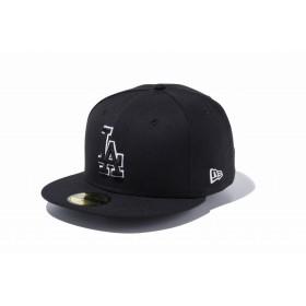 NEW ERA ニューエラ 59FIFTY MLB ロサンゼルス・ドジャース ブラック × ブラック ホワイトアウトライン ベースボールキャップ キャップ 帽子 メンズ レディース 7 (55.8cm) 11308637 NEWERA
