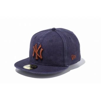NEW ERA ニューエラ 59FIFTY ヘビーウォッシュド ダックキャンバス ニューヨーク・ヤンキース ネイビー × ブラウン ベースボールキャップ キャップ 帽子 メンズ レディース 7 1/2 (59.6cm) 11899299 NEWERA