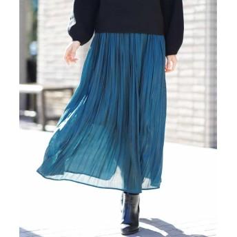【40%OFF】 アー・ヴェ・ヴェ ブライトサテンプリーツスカート[WEB限定サイズ] レディース グリーン 42 【a.v.v】 【セール開催中】