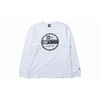 【ニューエラ公式】 長袖 コットン Tシャツ バイザーステッカー ホワイト × ブラック メンズ レディース Large 長袖 Tシャツ 11783068 NEW ERA