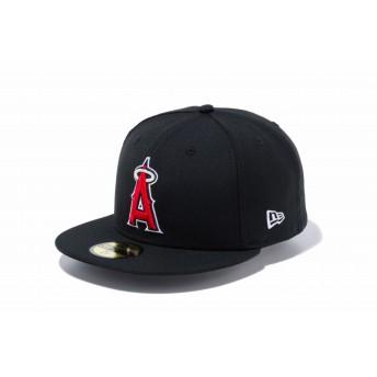 NEW ERA ニューエラ 59FIFTY ロサンゼルス・エンゼルス ブラック × チームカラー ベースボールキャップ キャップ 帽子 メンズ レディース 7 (55.8cm) 70474750 NEWERA